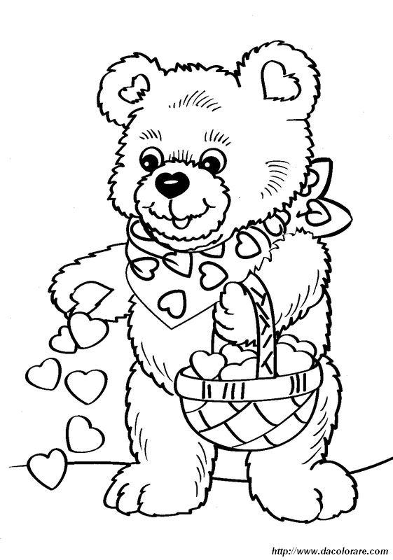 Colorare San Valentino Disegno Un Orsacchiotto Con Cuori